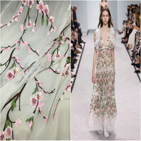 The Peach Blossom Thin High grade Fairy Peach Embroidered Silk Georgette Fabric for dressMens Heavy Summer Clothing Skirt