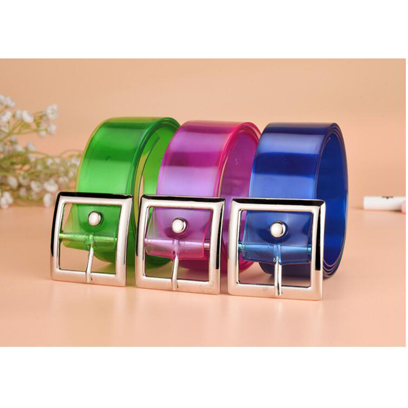 High Quality Plastic Belt Friendly Candy Multi Color Silicone Rubber Leather Belt Smooth Clear Buckle For Women Men
