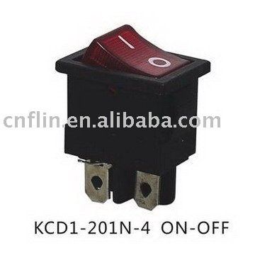 200pc/lot KCD1-201N-4 ON OFF lighted rocker switch 220V,Red