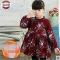 Crianças inverno camisola além de veludo treliça de impressão flor vestido da menina do bebê roupa dos miúdos moda ruched causais meninas roupas