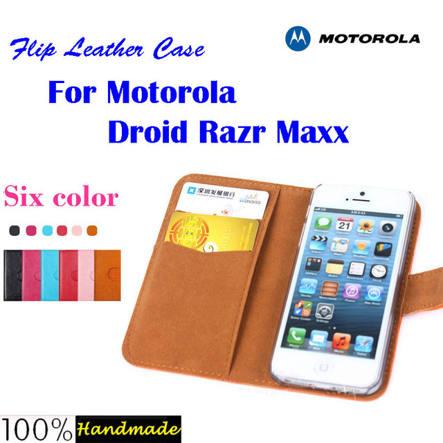 Free shipping Flip leather case  for Motorola Droid Razr MAXX XT910 XT912 case with credit card slot,6 candy colors in stock