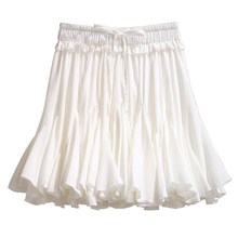 White Black Chiffon Summer Mini Skirts Women 2019 Fashion Korean High Waist Pleated Tutu