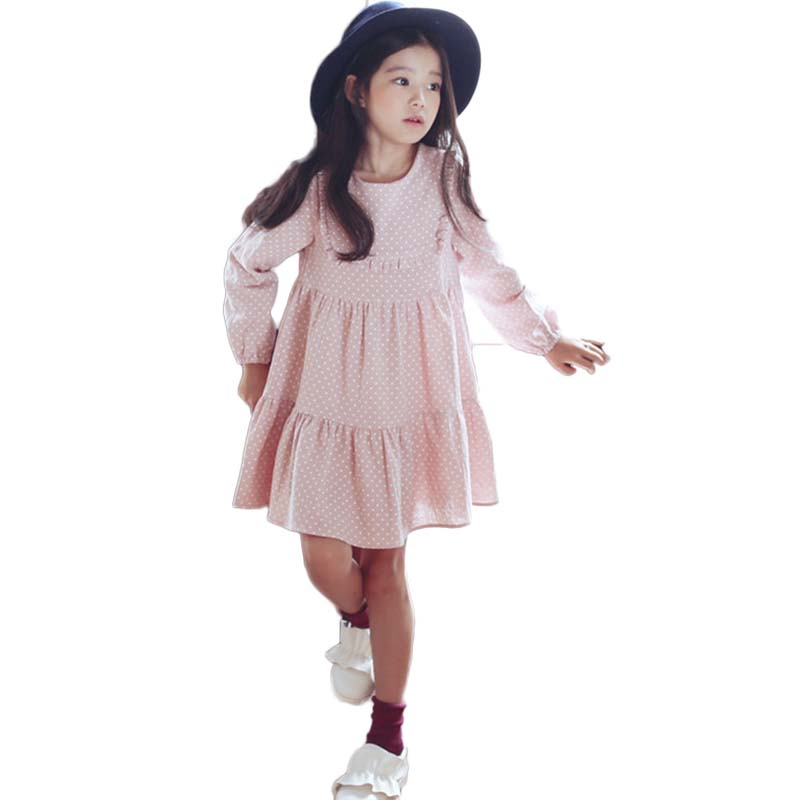 Pink Princess Dresses Long sleeve Girls Polka Tutu Gown Top Dress Vest Children Clothes Wedding Party Kids Clothing For Girls children clothing sling solid dresses for girls tutu princess dress with flowers girls costumes party dresses handmade custom