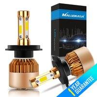 MALUOKASA 2Pcs Set S2 COB Chip LED Headlight Bulb 72W 8000LM 6500K H1 H3 H7 H8