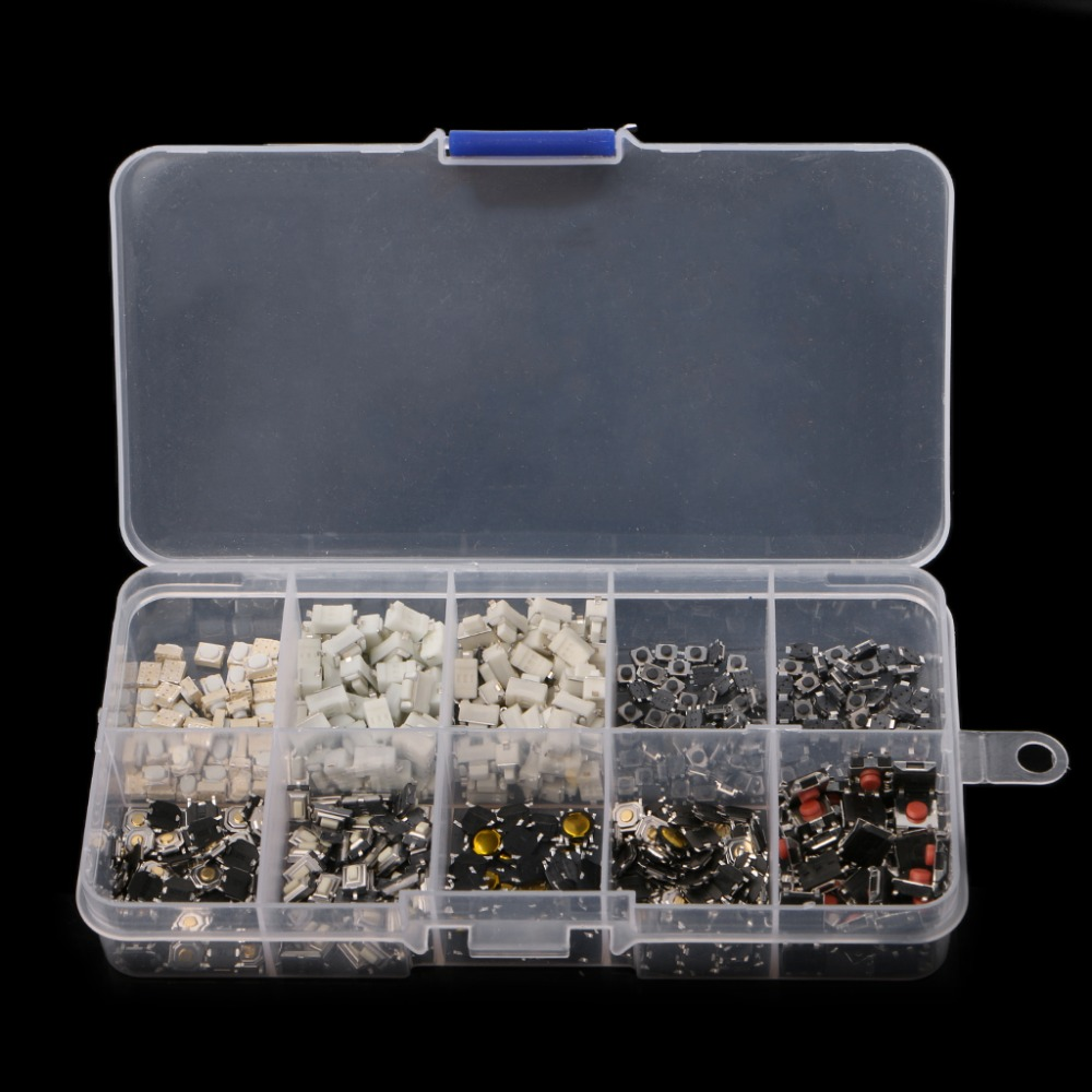 500 Pcs 10 Value Momentary Tactile Push Button Switch Mini Micro PCB Push Button Switch in Switches from Lights Lighting