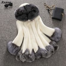 Xnxee Faux Fur Coat for Women Fluffy Artificial Fox Overcoat Winter Warm Jacket Long Sleeve Hoodies Hairy Outerwear