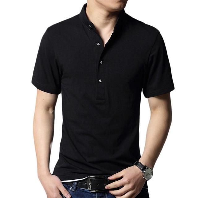 Men's Striped Black Mens Slim Fit Lapel Short Sleeve Shirt Casual Tops#3546