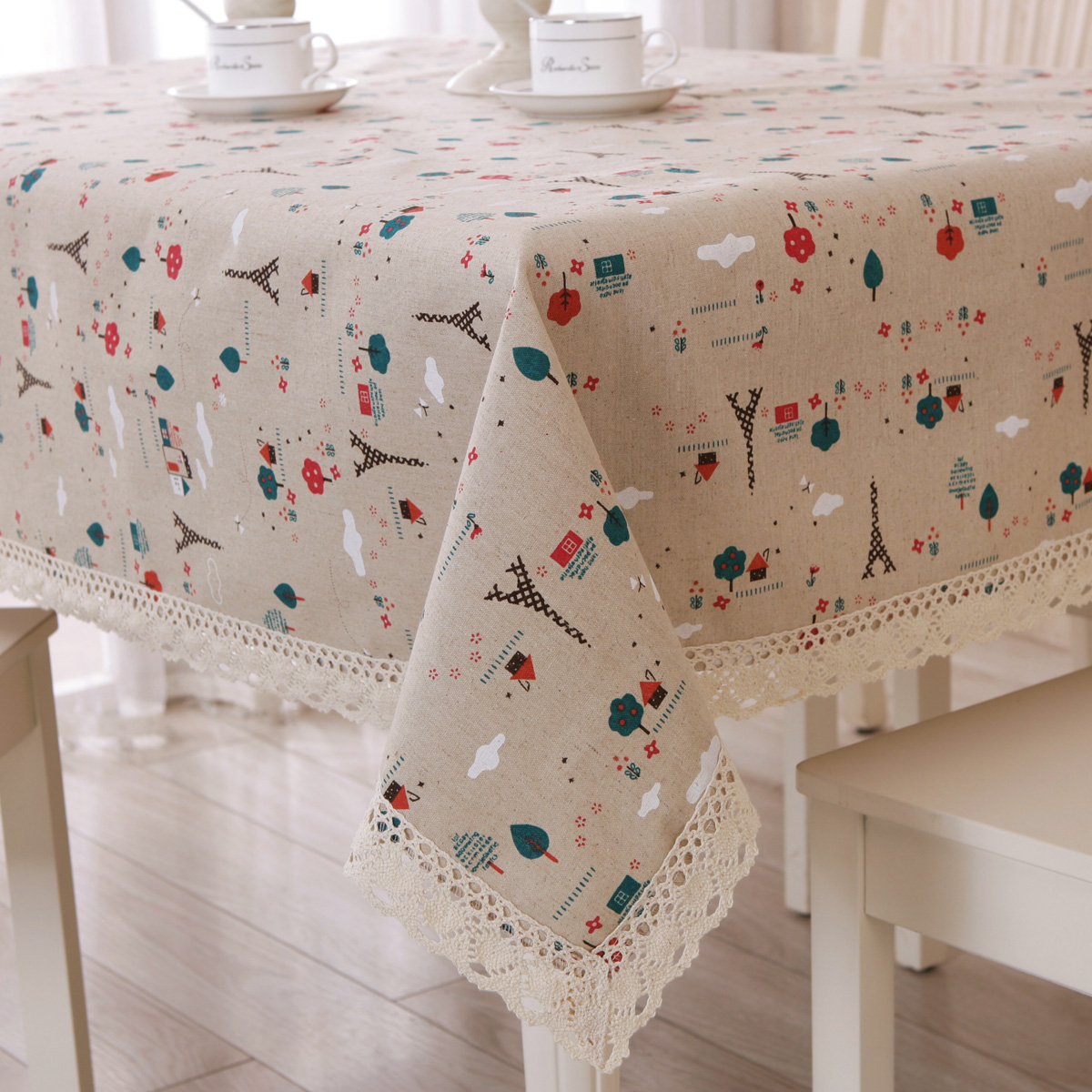 Table Cloth Garden Lace Edge Tablecloth Style Cotton Tower Cartoon European Table Cover Rectangular ...