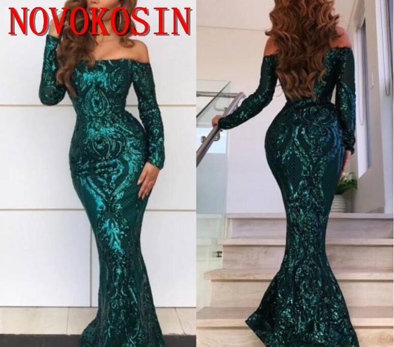 Réel échantillon manches longues caftan arabie Sequin robe de soirée formelle robe de bal avec Satin détachable Train 2019 robe de soirée musulmane