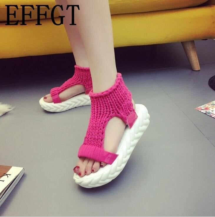Effgt Frauen Plattform Sandalen Open-toe Frauen Schuhe Mode Stricken Flache Plattform Sandalen Casual Mid Ferse Sommer Sandalen VerrüCkter Preis