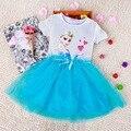 Горячие Новые Девушки Дети Ткань Анна Эльза Платье Младенца Лета Малышей Принцесса Vestidos Infantis Подарок Косплей Платья Русский Испания