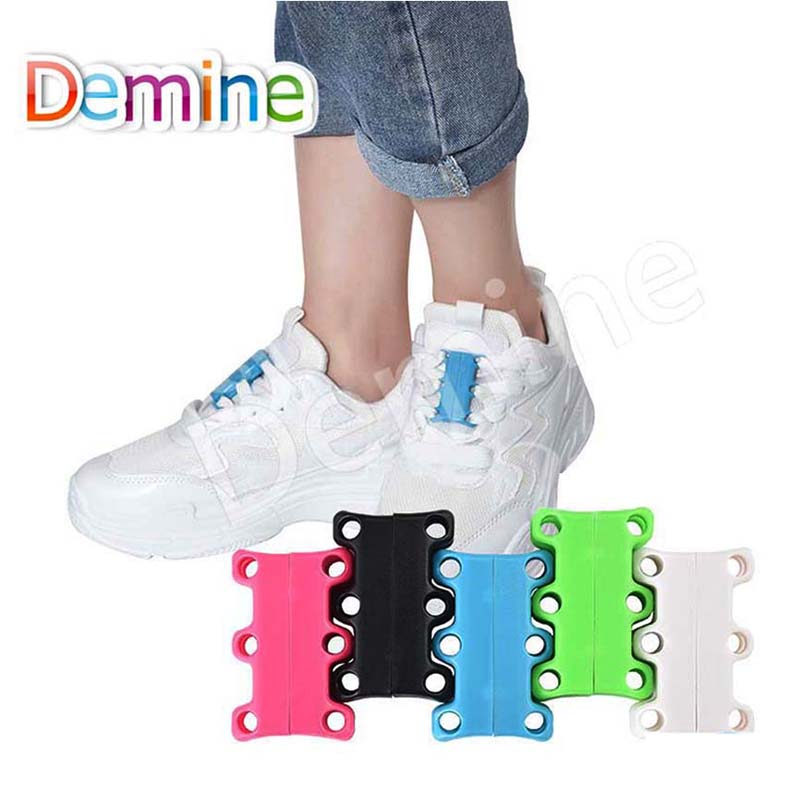 Demine Fashion Novelty Strong Quick Easy Magnetic Shoelaces For Sneakers Shoes Buckles Closure No Tie Shoelace Easy For Sneakers