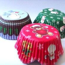 100 шт., 3 дизайна, снежинка, Санта, снеговик, Рождественский капкейк, вкладыш, форма для выпечки кексов