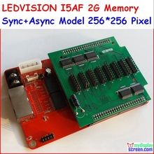 Pleine couleur rgb contrôleur 256*256 pixel, 1/16, 1/8, 1/4, 1/2, 2G mémoire c & lumière i5AF/LEDSHOWT9 LEDVISION, async + syc carte de contrôle