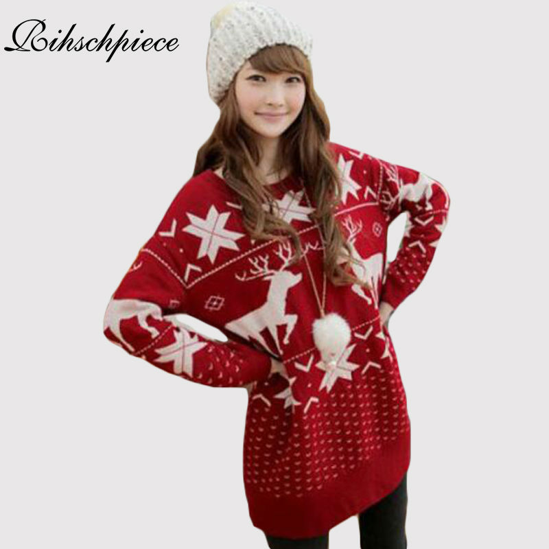 Rihschpiece Oversize Christmas Sweater With Deer Winter Pullover Women Sweaters And Pullovers Knitted Long Sweater Jumper RZF777