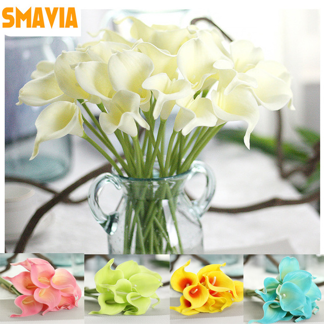 SMAVIA Hot Sale Artificial Calla Lily Simulation Flowers Decorations PU Home  Decor Bauquet Wedding Party Fake