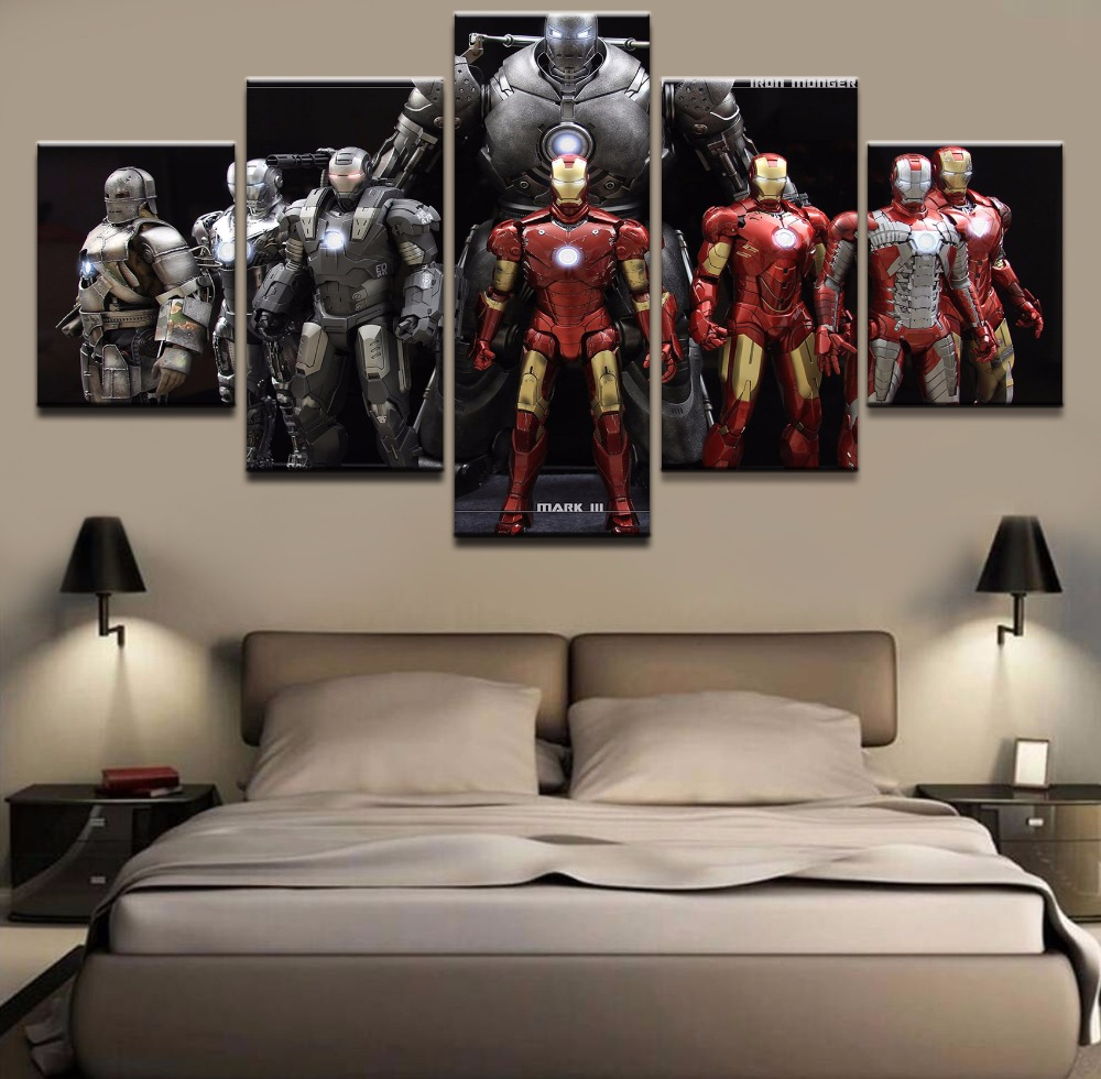 Modern Canvas Wall Art Poster Framework Home Decor For Choldrens Room 5 Pieces Iron Man Movie Pictures HD Printed Painting in Painting Calligraphy from Home Garden
