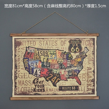 Large Retro US ROUTE 66 Linen Cloth Painting Scrolls Poster Mural Paintings Banners Hanging Art Office Loft Ornament Wall