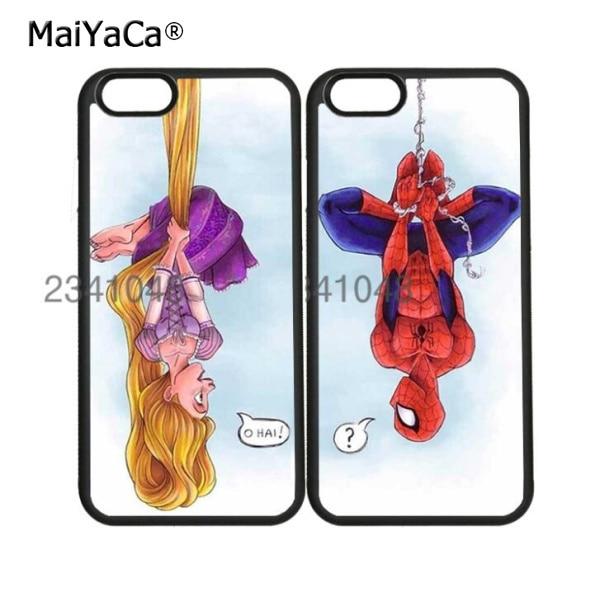 rapunzel meet spiderman best friends BFF soft cell phone cases for iPhone x 5c 5s se 6 6s plus 7