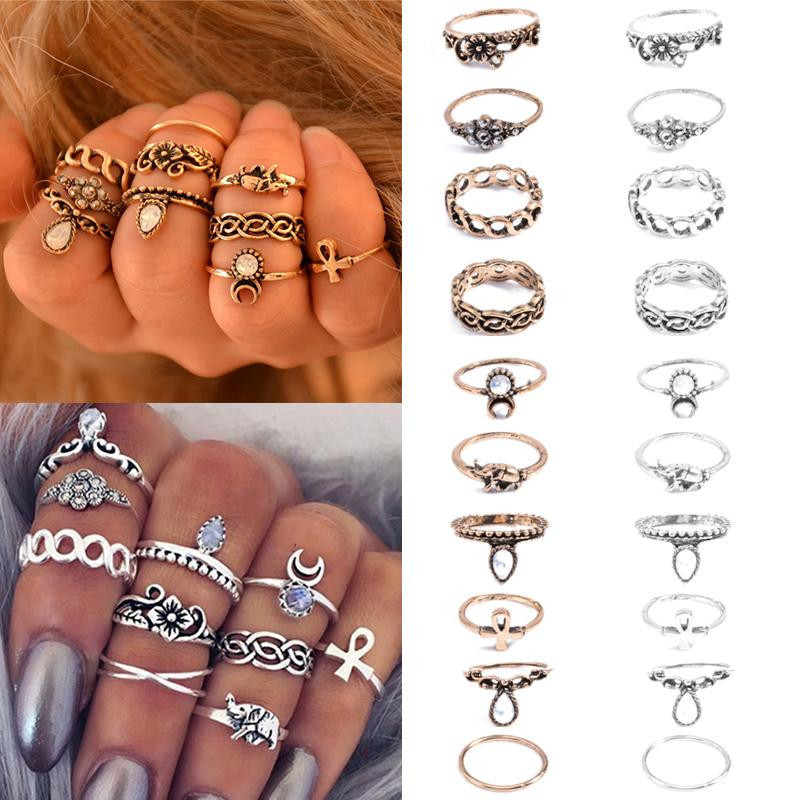 New Arrival Retro Bohemian Carved Antique Gold Silver Color Ring For Women Party Wedding Finger Jewelry 10pcs