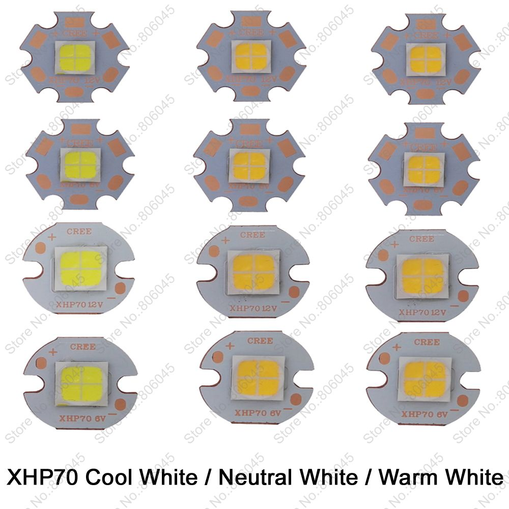 Cree XHP70 6V or 12V 6500K Cool White, 5000K Neutral White, 3000K Warm White High Power LED Emitter on 16mm 20mm Copper PCB Base cree xhp50 cool white neutral white warm white high power led emitter 6v 16mm copper pcb 22mm 1mode 3modes 5modes driver