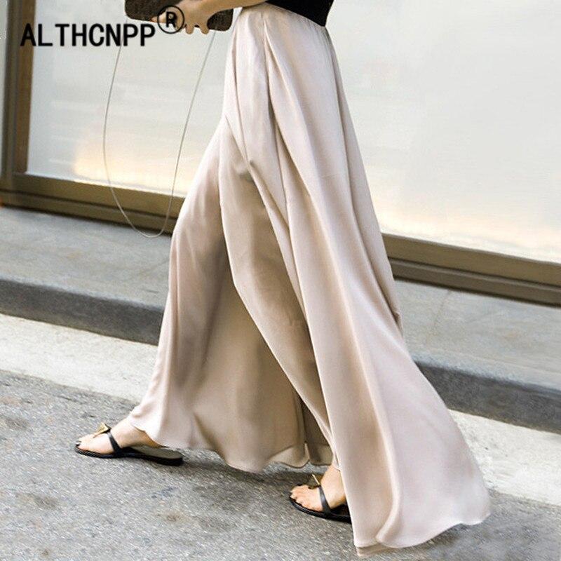 2019 Spring Summer New Chiffon Skirt   Pants   Women Loose High Waist   Wide     Leg     Pants   Holiday Women Trousers Pantalon Femme