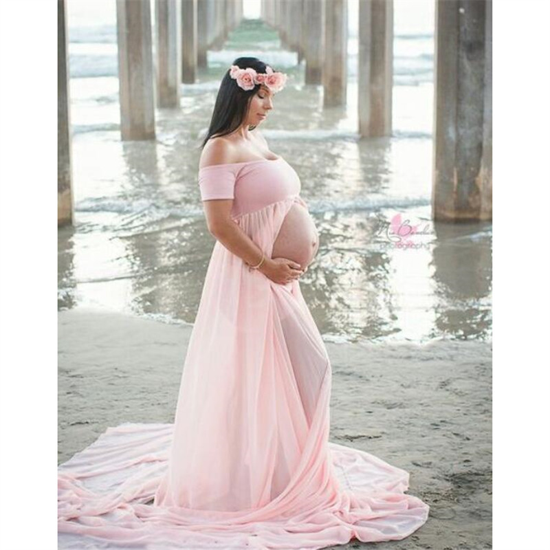 Robes de maternité Pour Séance Photo Slash Cou Extensible Coton Enceinte Robe Jersey La Grossesse Robe Photographie Vêtements Grande Taille