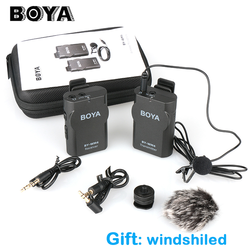Boya BY-WM4 Professional Wireless Microphone System Lavalier Lapel Mic for Canon Nikon Sony DSLR Camcorder for iPhone Samsung boya by wm4 wireless lavalier microphone system smartphone lapel mic for iphone 8 7 android canon nikon tablet pc audio recorder