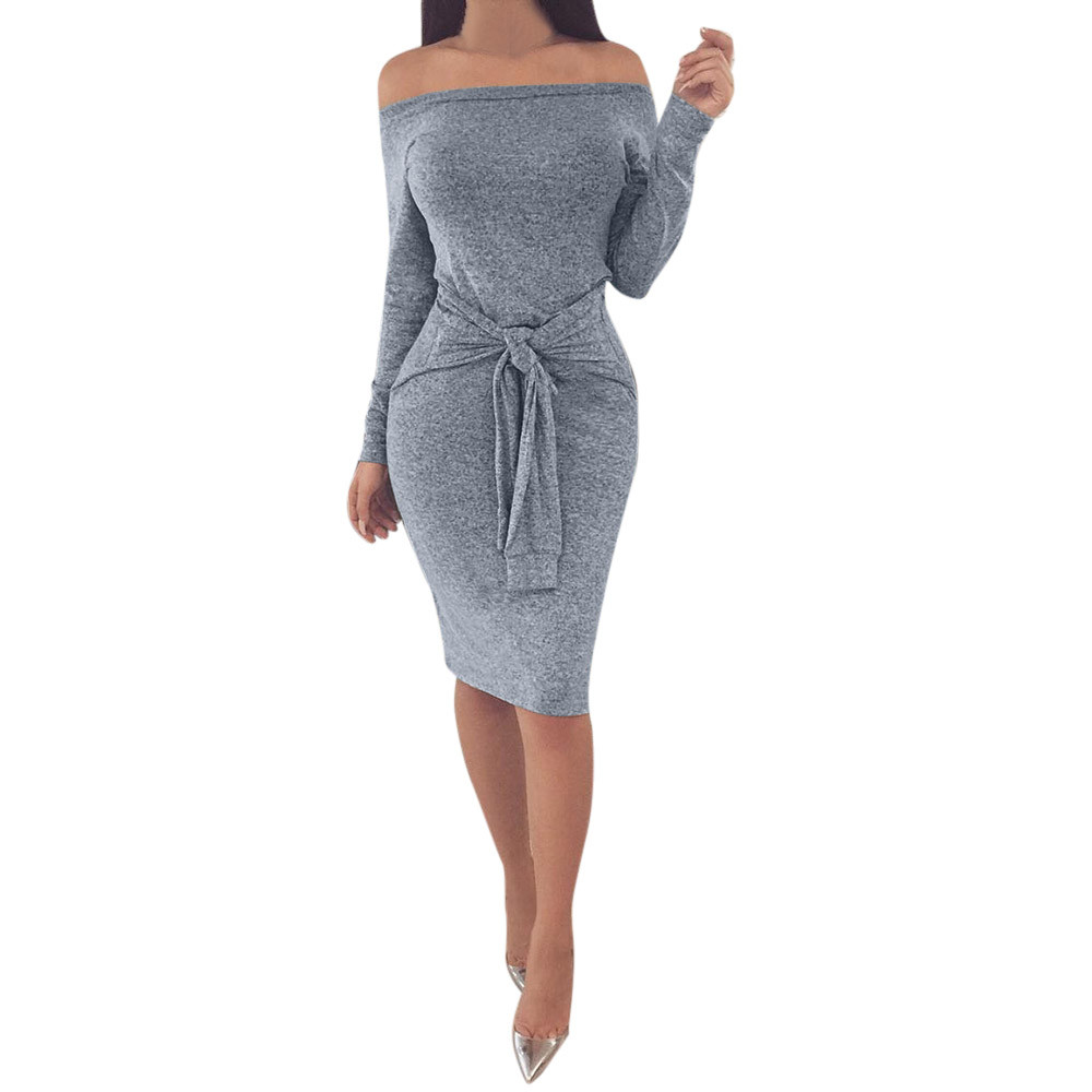 Señoras Sexy de hombro Bodycon vestidos de fiesta primavera otoño manga larga Casual Bowknot Hip paquete Mini vestido # LH