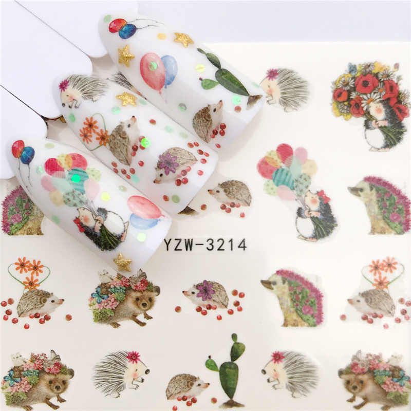 1 PC 2019 New Styles Nail Sticker Water Decals Hedgehog / Flower / Cat Transfer Nail Art Decoration