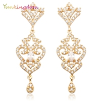 Yunkingdom Marca Vintage Pendientes Cubic Zirconia anillos de Color Oro pendientes de la Lámpara para Las Mujeres M0123