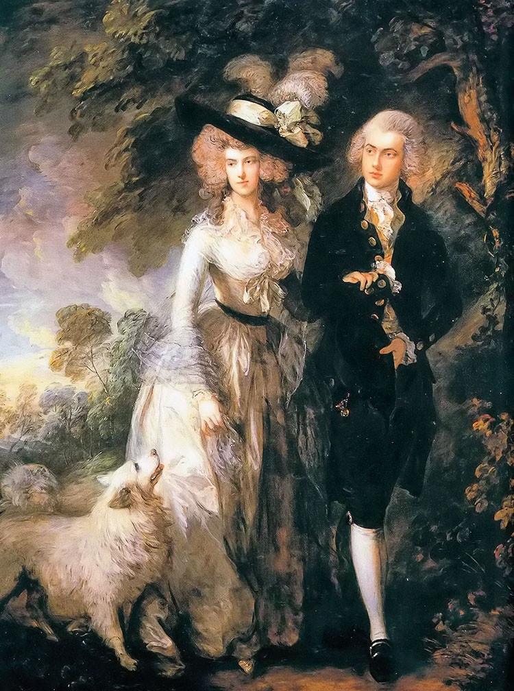 Портрет масляной живописи Классическая настенная живопись на холсте Томас Гейнсборо Вильям халейт молодой пары и собаки пейзаж ручной раб