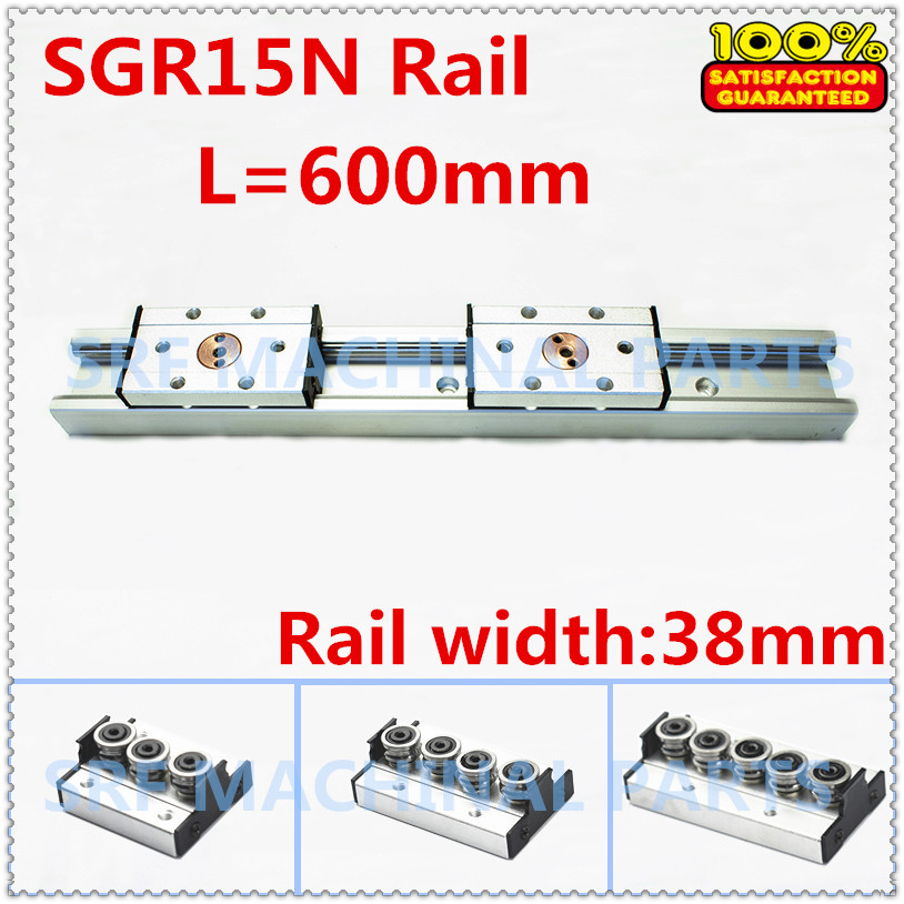 1pcs Silver Double axis roller linear guide SGR15N L600mm +1pcs SGB15NUU block linear Motion slide rail aluminum guide 1pcs linear motion bearings double side rubber seales lm35uu