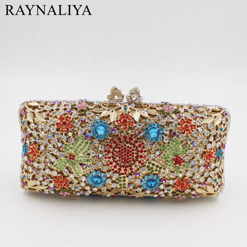 Metal Hollow Out Rhinestone Clutch Crystal Handbag Newest Stylish Women Evening Bag Party Wedding Purse Hot Sales SMYZH-E0362