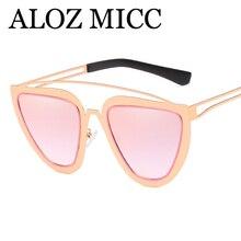5bd548564131e ALOZ MICC 2018 RetroTriangle Cat Eye Sunglasses Mulheres Marca Designer  Estrutura Metálica Dupla Ponte Óculos de Sol Sombra Femi.