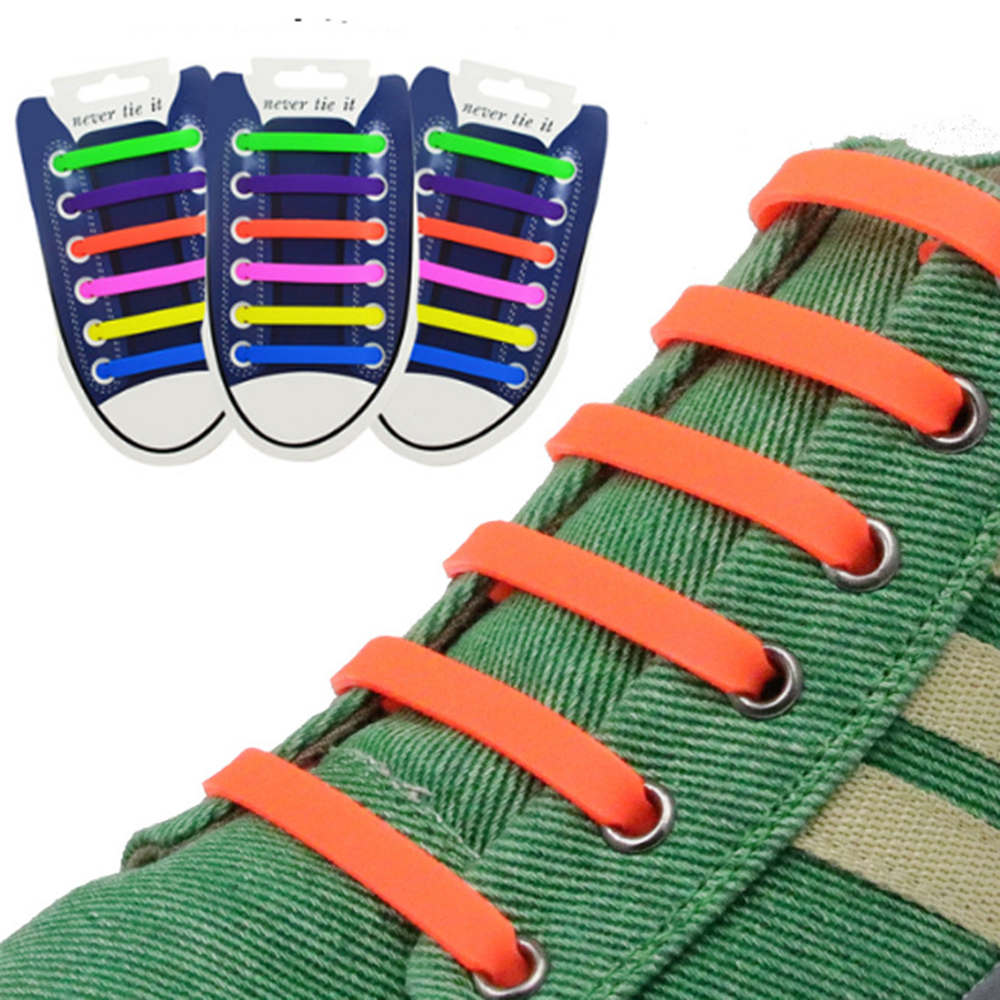 12pcs/set Elastic Silicone Shoelaces Creative Lazy Silicone Laces No Tie Rubber Lace Easy Shoes Accessories For Man Women Unisex