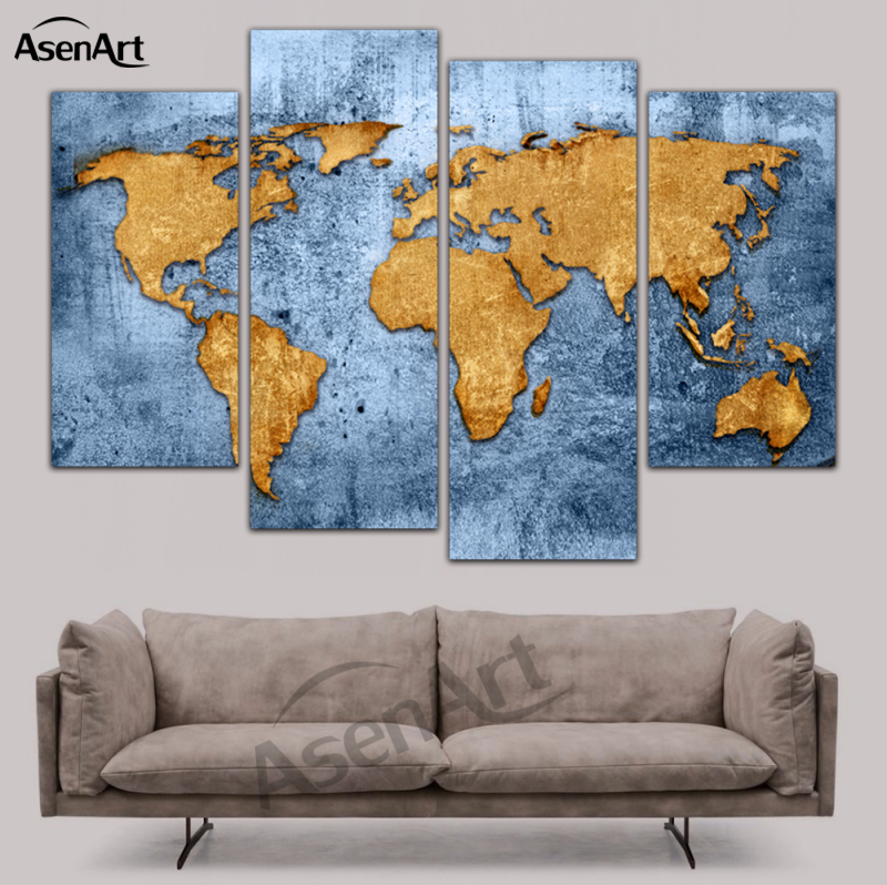 4 Piece Canvas Art Vintage World Map Painting Home Decor Canvas Painting Prints Wall Art Picture Framed Ready To Hang Wall Pictures 4 Piece Canvas Artcanvas Art Aliexpress