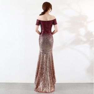 Image 2 - NOBLE WEISS Sexy Prom Dresses 2019 Boat Neck Gradual Sequin Asymmetrical Custom Made Mermaid Party Dress