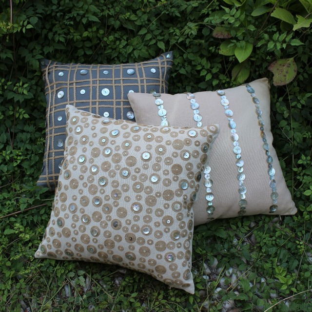 VEZO HOME 40pcslot Seashell Button Handmade Linen Sofa Decorative Awesome Seashell Pillows Decorative