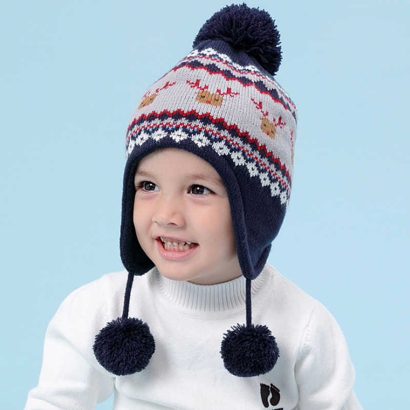... High Quality Warm Baby Winter Hat Boys Children Toddler Caps Ear  Thicked Knitted Girls Hats Beanie ... d47bb59711b1