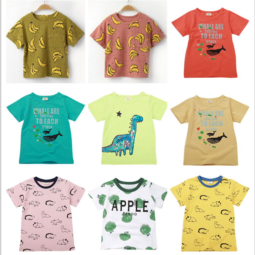 2019 Boys Girls T-<font><b>shirt</b></font> Kids <font><b>Basic</b></font> T <font><b>Shirts</b></font> Fish Top Tees Children Cotton Clothing <font><b>Baby</b></font> Boy Design <font><b>Shirts</b></font> 2-8Y Shark Dinosaur image