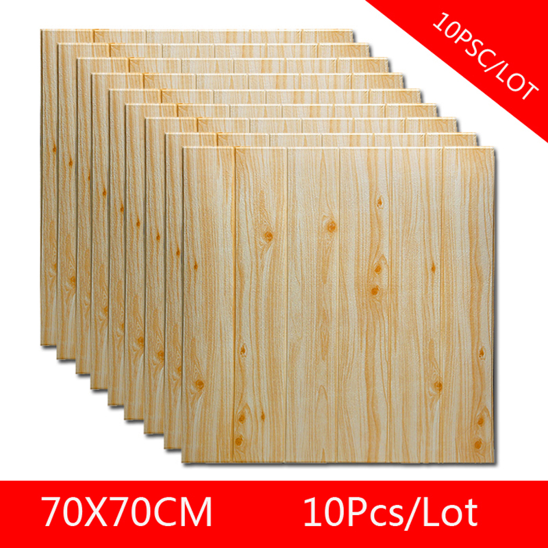 Self Adhesive Waterproof Wood Grain Wallpapers 3D TV Background Living Room Wallpaper Mural Bedroom Decorative  3D Wall Sticker