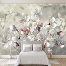 Watercolor flower background wall design professional production wallpaper murals custom photo wholesale