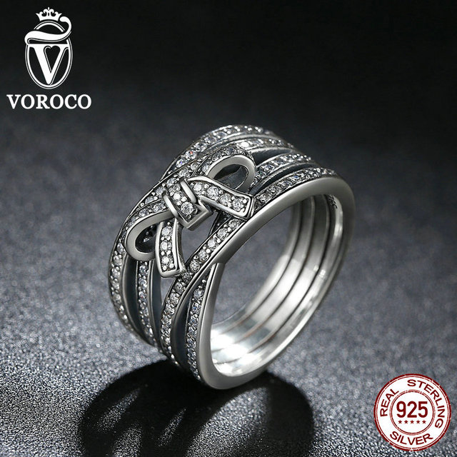 VOROCO New Classic 925 Sterling Silver Big Bow Knot DELICATE SENTIMENTS RING Finger Ring Compatible with VRC Jewelry A7189