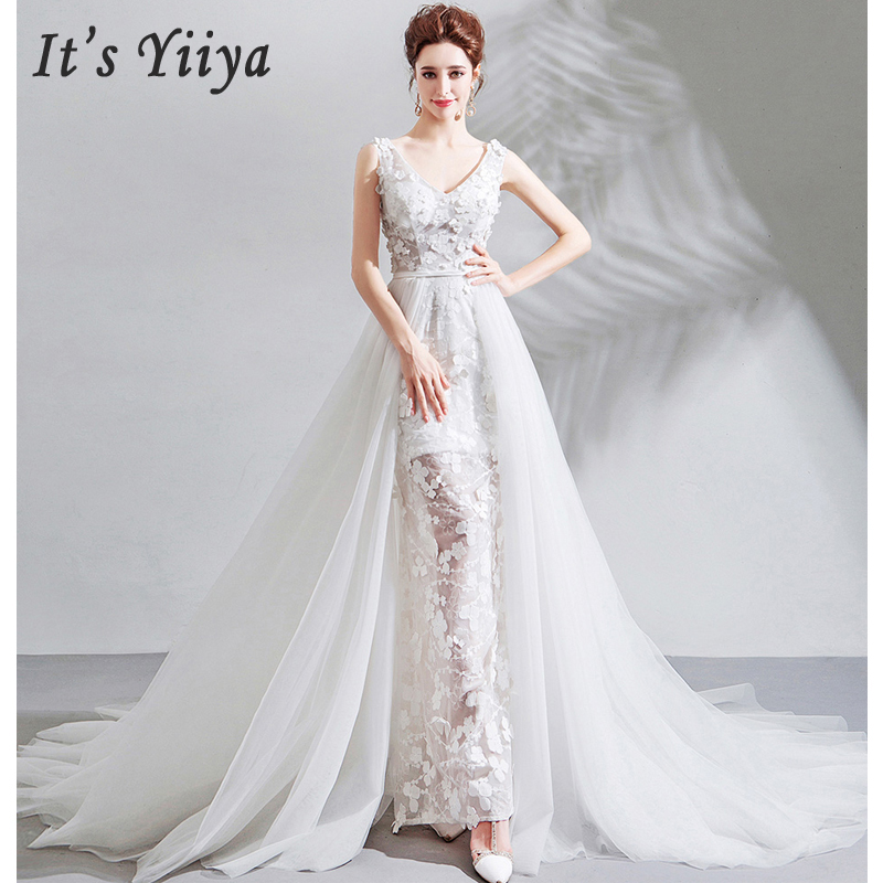 It's Yiiya Evening Dress White V-neck Robe De Soiree Sleeveless Women Party Dress 2019 Long Plus Size Lace Evening Gowns E602