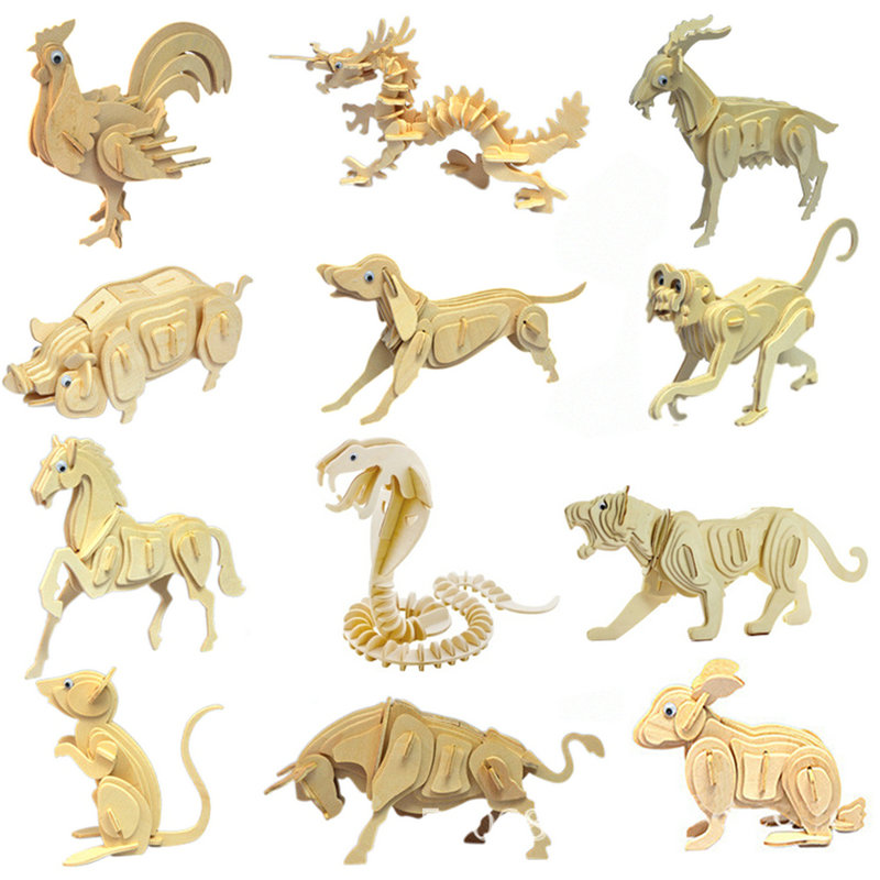 US $3 79 5% OFF|Citygirl Educational 3D Skeleton Wooden Jigsaw Puzzle 12  Chinese Zodiac Dragon Shape Model Toy Gift-in Puzzles from Toys & Hobbies  on