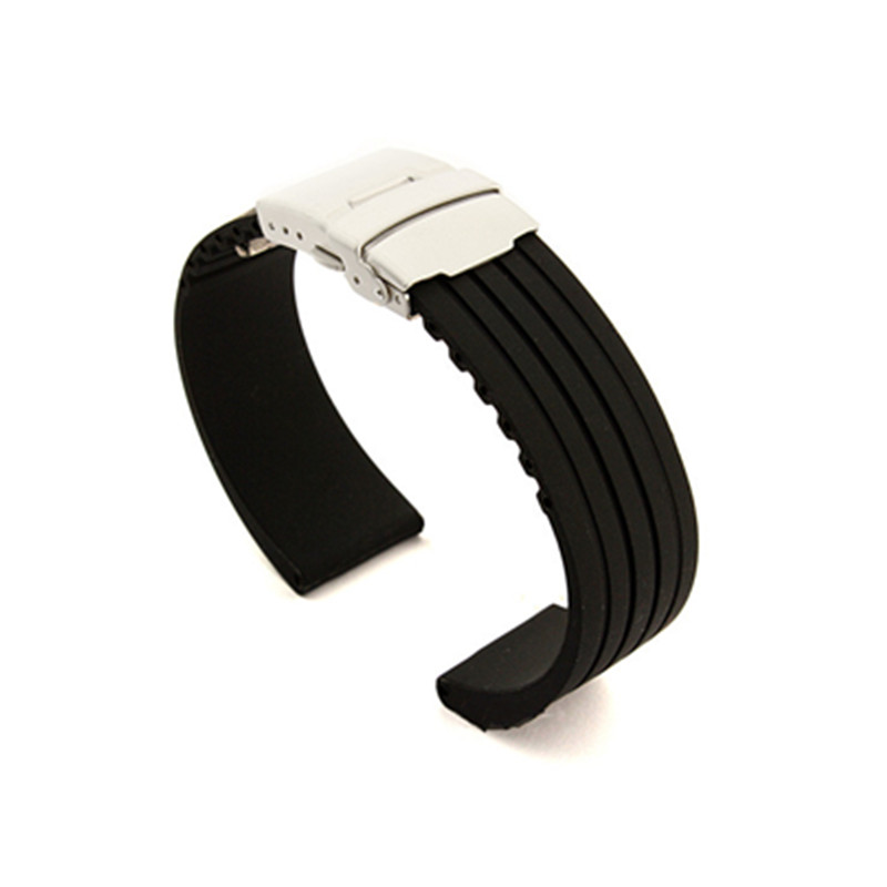 18mm20mm22mm24mmMens Silicone Rubber Watch Strap Band Waterproof with Deployment Clasp + Spring Bar + Tool