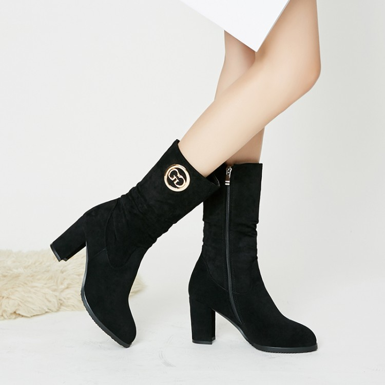 Big Size 9 10 11 12 boots women shoes ankle boots for women ladies boots Metal trim side zipperBig Size 9 10 11 12 boots women shoes ankle boots for women ladies boots Metal trim side zipper