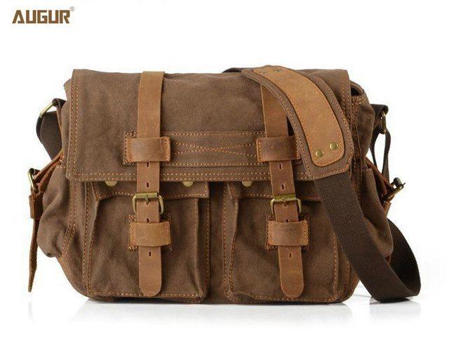 Augur Vintage Crossbody Bag Uni Genuine Leather Shoulder Men Messenger Handbag Tote