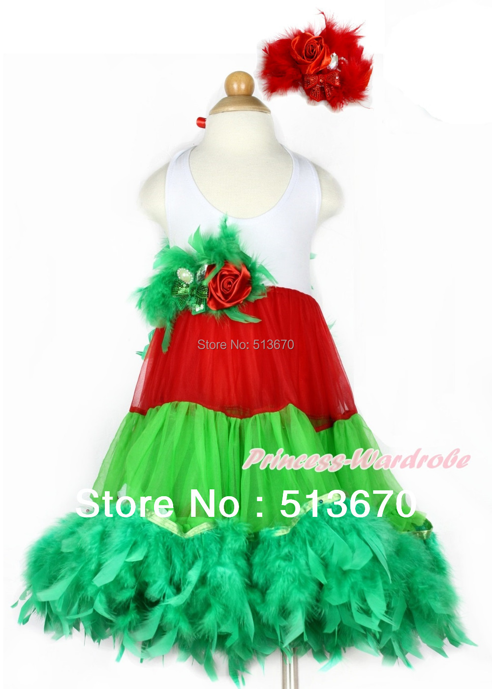 Xmas White Red Green ONE-PIECE Petti Dress Kelly Green Posh Feather Red Feather Rose Bow With Accessory 2PC Set MALP29 -1 lava a 2